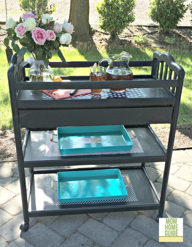 painted changing table to bar cart