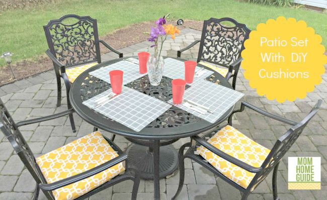 Beautify and outdoor patio set with DIY envelope cushion covers!