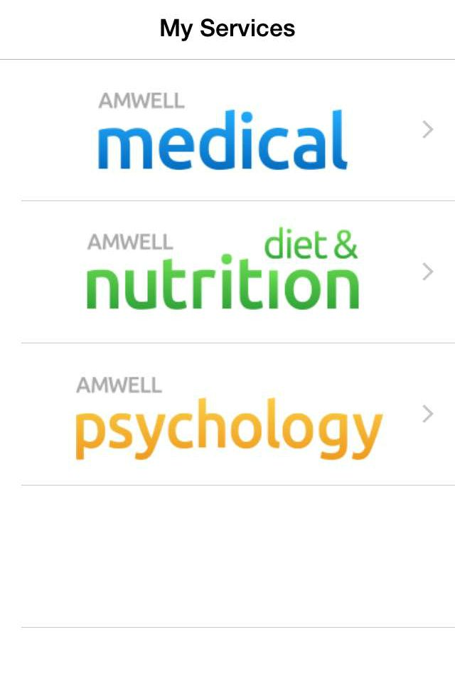 amwell medical, diet & nutrition and psychology services