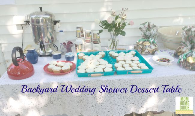 backyard bridal shower dessert table