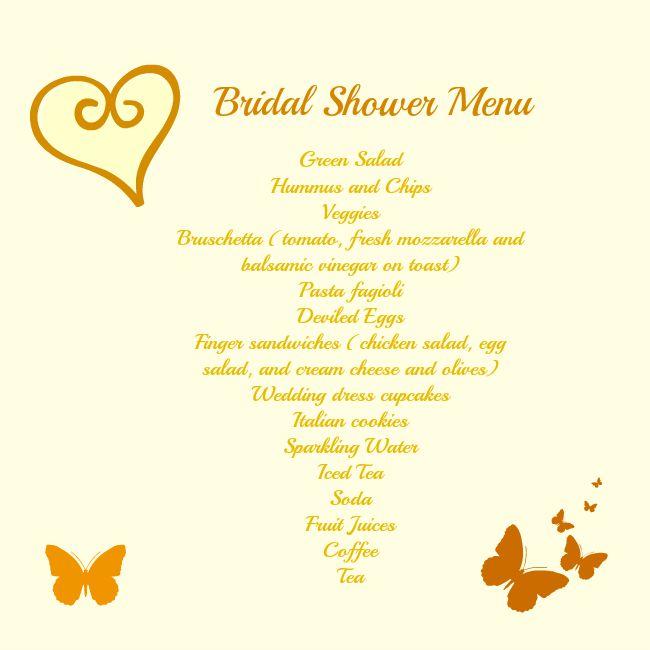 bridal shower menu