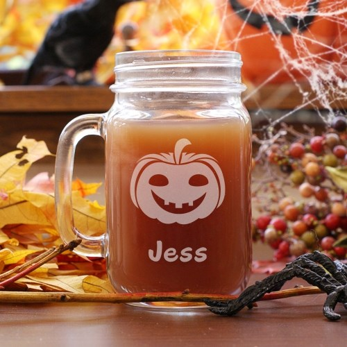 cute engraved mason jar for Halloween