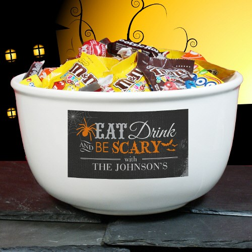 I love this cute personalized Halloween bowl!