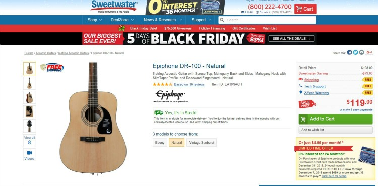 I bought my beautiful new Epiphone guitar at Sweetwater.com