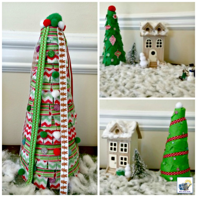 This Christmas village with DIY foam cone Christmas trees is easy and fun to make!