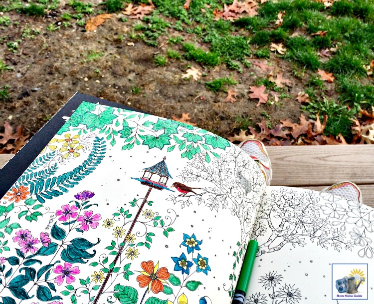 Coloring in the park with my new Secret Garden coloring book by Johanna Basford
