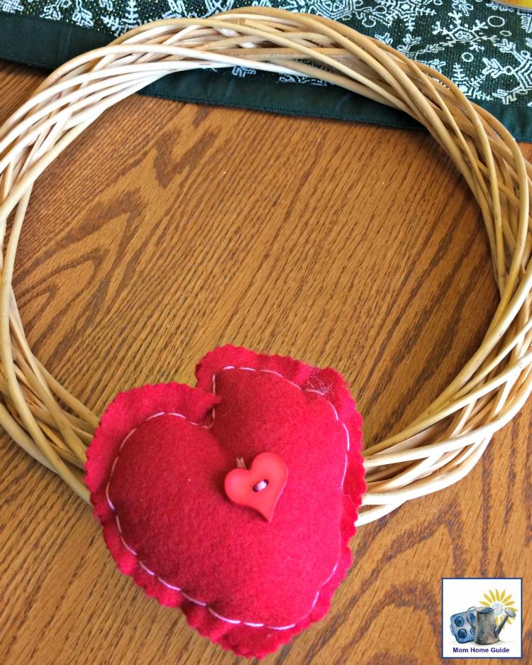 Felt heart on grapevine wreath