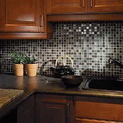 Beautiful gray and white mosaic tile backsplash for the kitchen