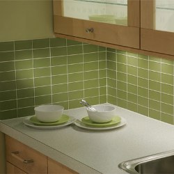 This green glass subway tile is a beautiful choice for a kitchen