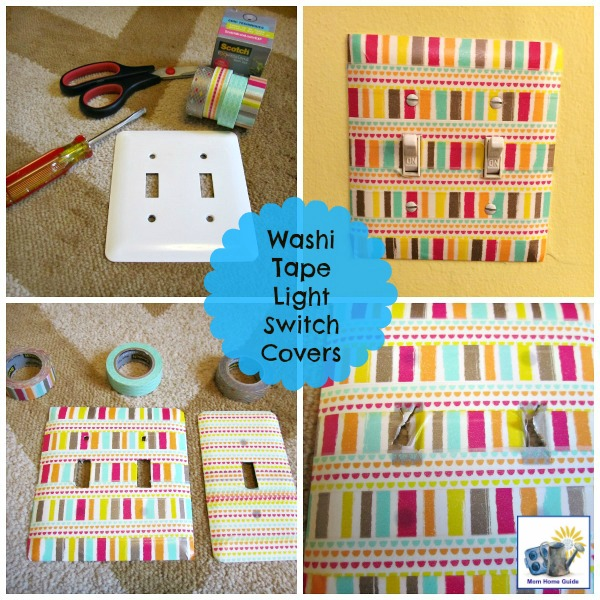 Washi tape is a fun and inexpensive way to update light switch covers