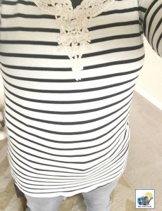 A black and white striped top with a pretty crochet neckline