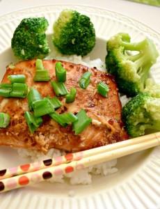 teriayki salmon and broccoli