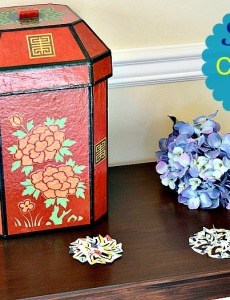 spring console table decorated with scrapbook paper punches