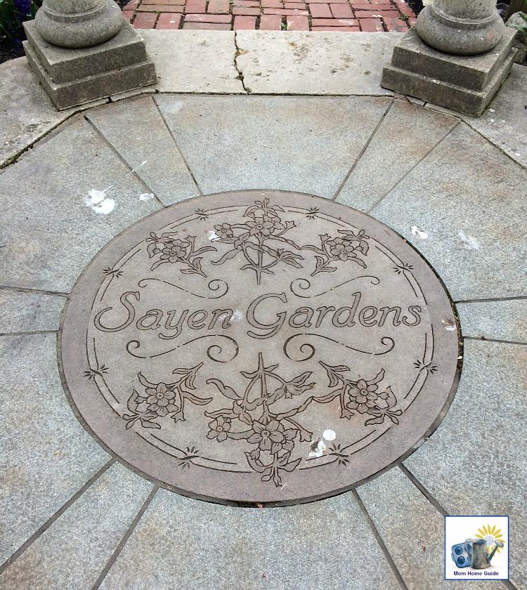 Medallion in a gazebo in Sayen Gardens in Hamilton, NJ