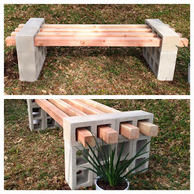 DIY wood and cinder block bench by Fab Everyday
