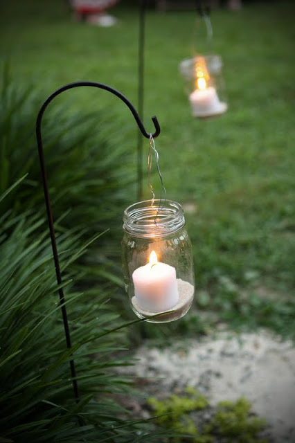 DIY hanging mason jar candle light for the garden or yard