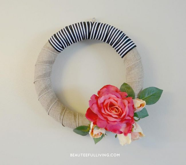 A modern rose bloom wreath by Tee of Beauteeful Living