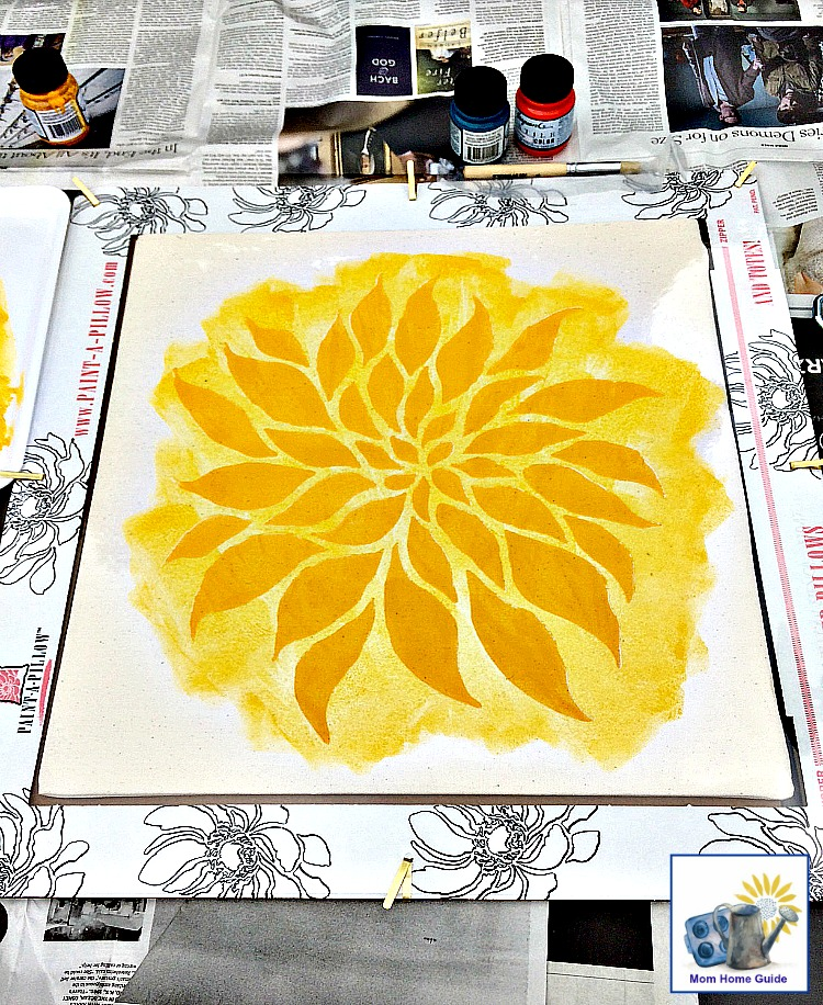 Stenciling a pillow with a Paint-a-Pillow kit