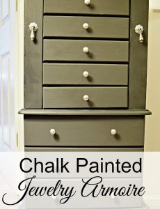 gray chalk painted jewelry armoire