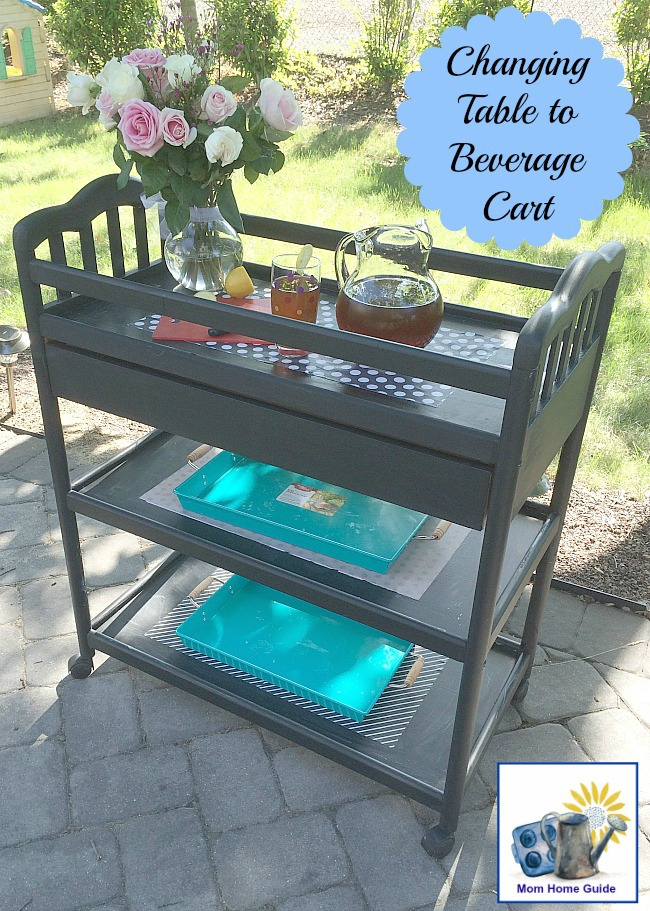 Changing table chalk painted and upcycled to serve as a fun beverage cart