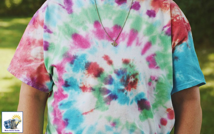 Shirt tie dyed in a swirl pattern