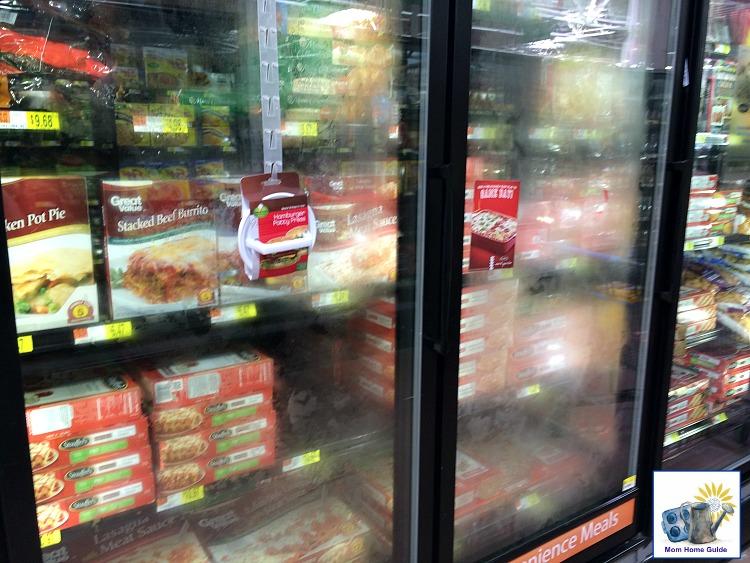 Frozen lasagne in the frozen food aisle at Walmart