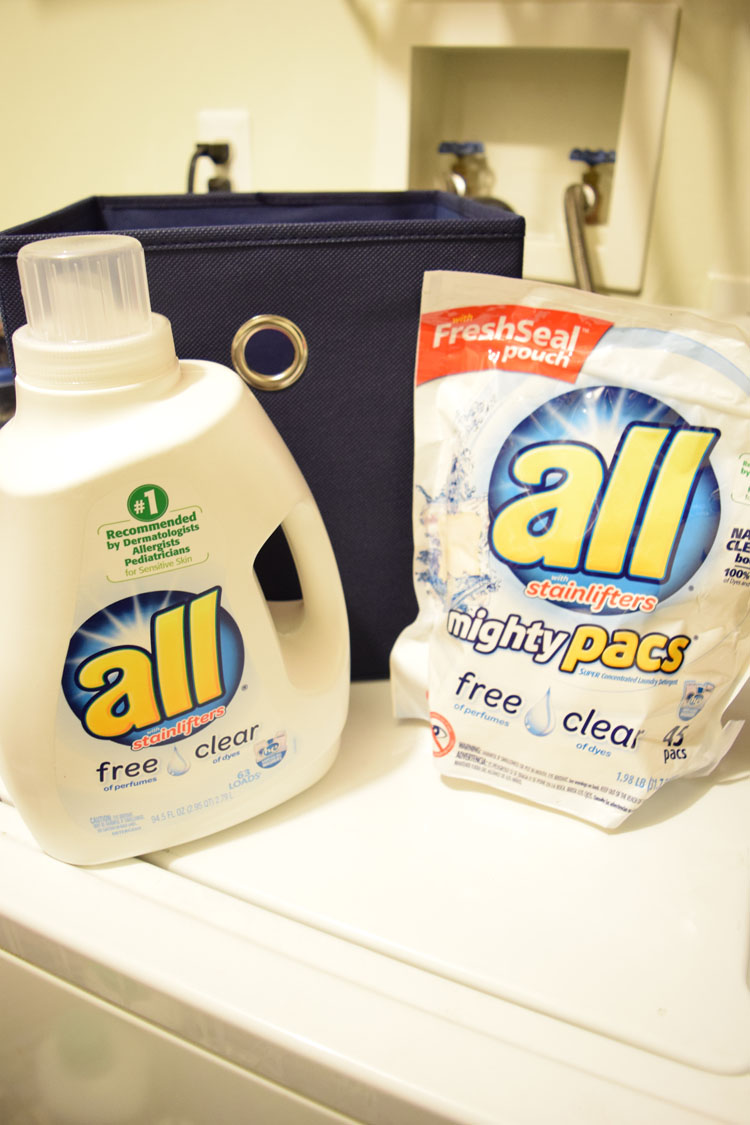 all® free clear liquid detergent and free clear mighty pacs® are great for folks with allergies