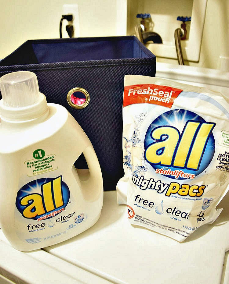 All Free & Clear Detergent is free of dyes and perfumes, which is a help to allergy sufferers