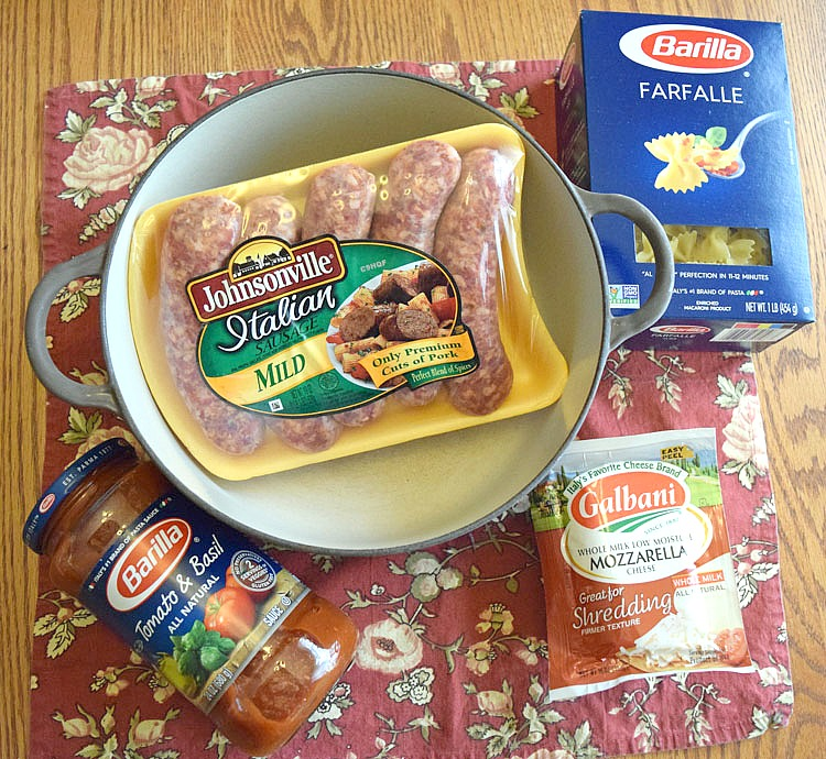 ingredients for one post cheesy sausage pasta dish