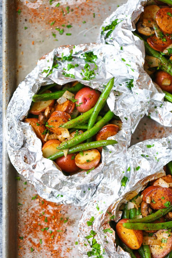 Sausage, potato and green beans foil packets