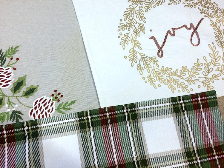 Christmas placemats from Target -- these double-sided fabric placemats are easy to convert into pillows