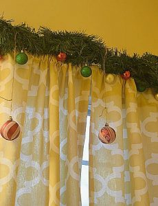 Christmas garland for a bathroom window for Christmas