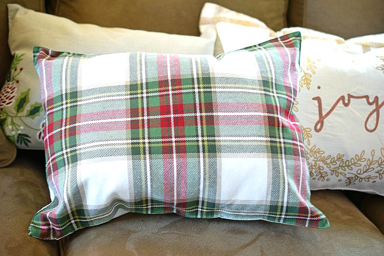 plaid holiday pillow