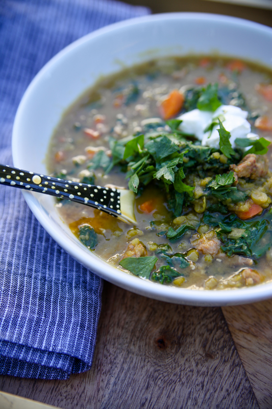 split pea and sausage soup reipe