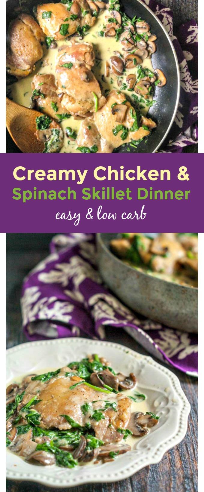 creamy chicken skillet dinner with spinach