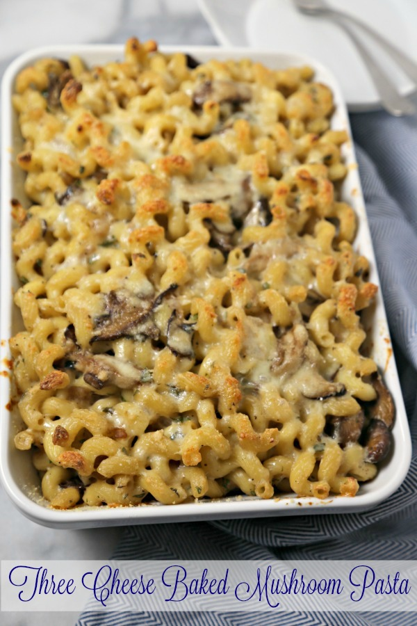 three cheese baked mushroom pasta