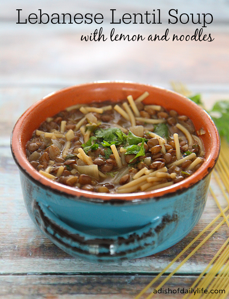 Lebanese lentil soup with spaghetti noodles