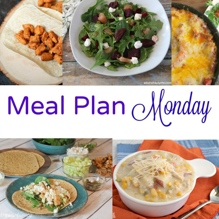Meal Plan Monday -- a collection 5 easy and delicious weeknight meals: Buffalo Chicken tacos, grapefruit and beet salad, skillet lasagna, Greek salad wrap and chicken corn chowder.