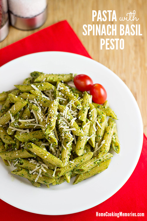pasta with spinach basil pesto sauce