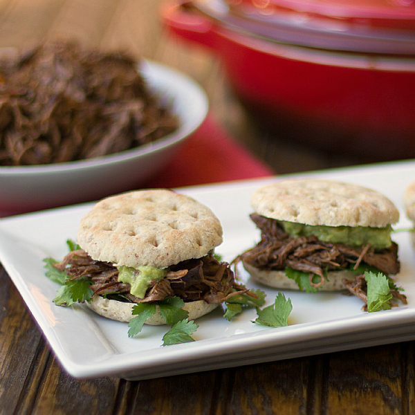 Shredded beef and guacamole sliders recipe