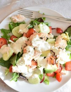Chicken, avocado, strawberry salad with Green Goddess salad dressing recipe