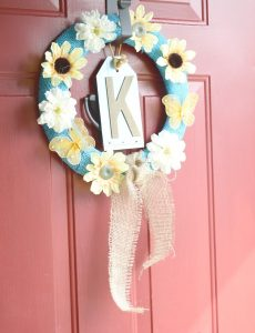 Simple and easy to make wreath with faux flowers and burlap