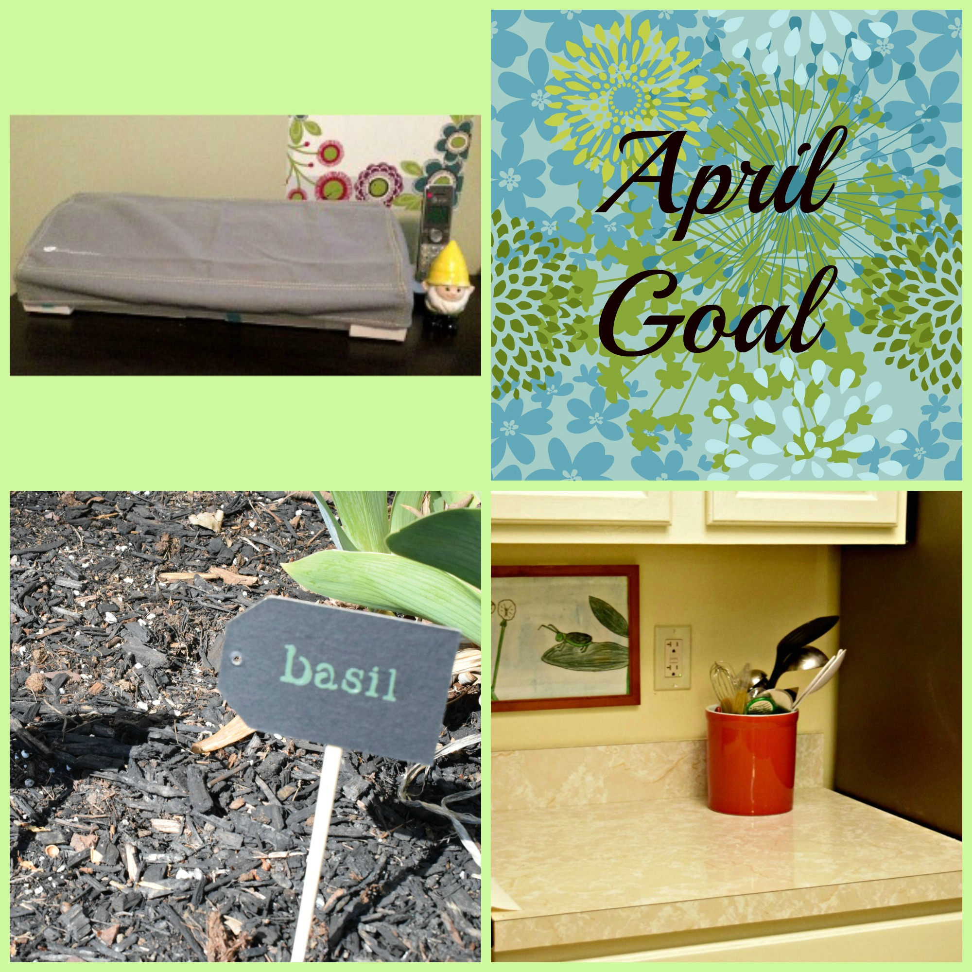 My April goal is to learn how to use my new Silhouette Cameo 3 -- but I still have to complete my kitchen and garden goals!