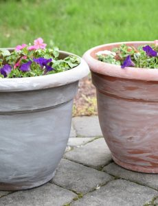 diy white washed patio pots