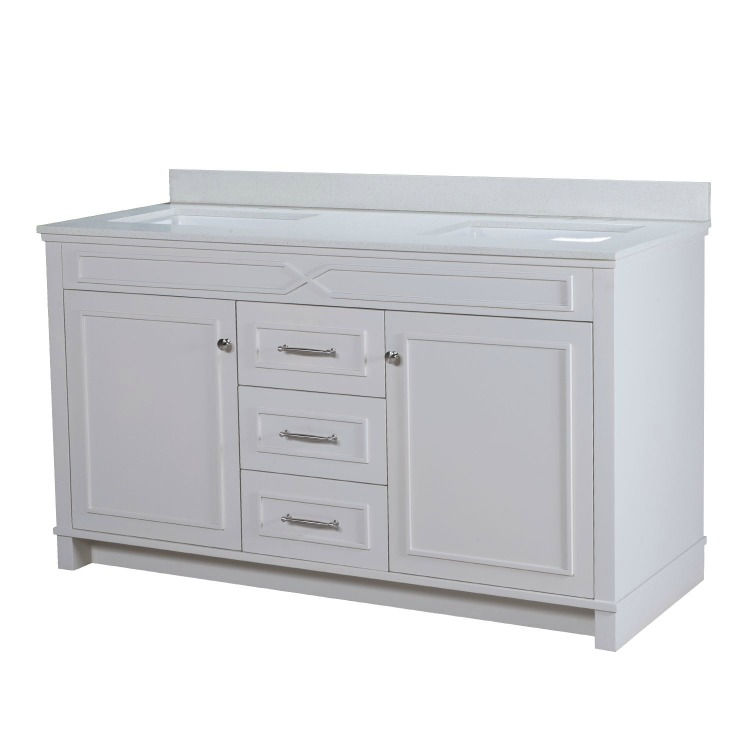 Abigail white double vanity with off-white quartz countertop from Maykke