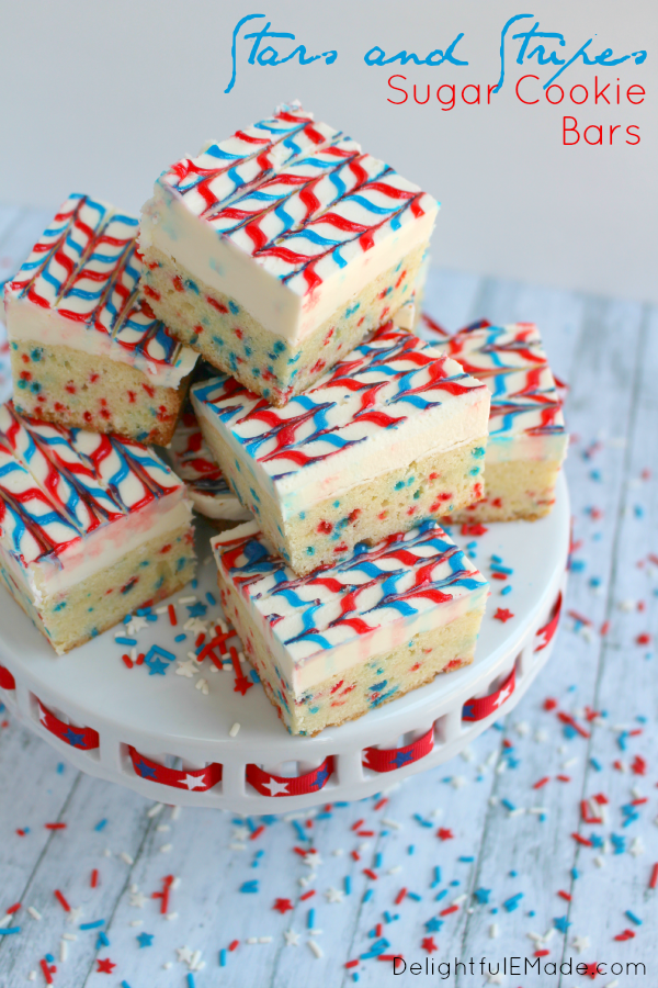 Stars and Stripes sugar cookie bar recipe by Delightful E Made