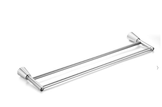 The Soma double towel bar in brushed nickel
