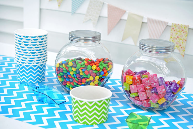 Colorful candy bar for a birthday or graduation party
