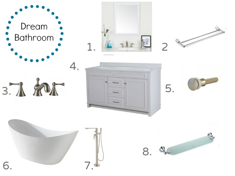 Vanity, free-standing tub, faucets, mirror and shelf for a dream bathroom from Maykke