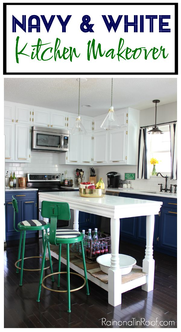 navy and white kitchen makeover by Rain on a Tin Roof